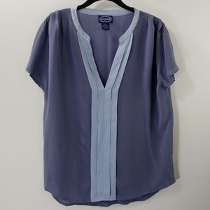 Scoop NYC Blue Silk V-neck Top Size S